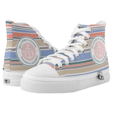 Beach Themed Monogram Anchor Trendy Stripes Pink Nautical Beach High-Top Sneakers