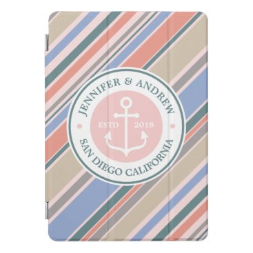 Beach Themed Monogram Anchor Trendy Stripes Pink Nautical Beach iPad Pro Cover