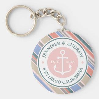 Monogram Anchor Trendy Stripes Pink Nautical Beach Keychain