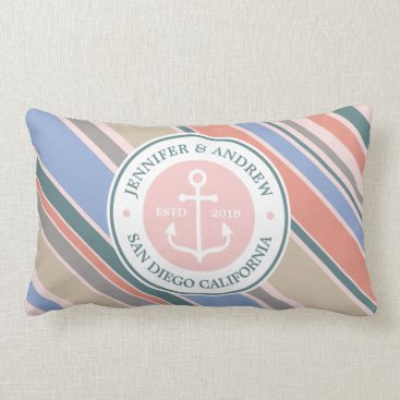 Beach Themed Monogram Anchor Trendy Stripes Pink Nautical Beach Lumbar Pillow