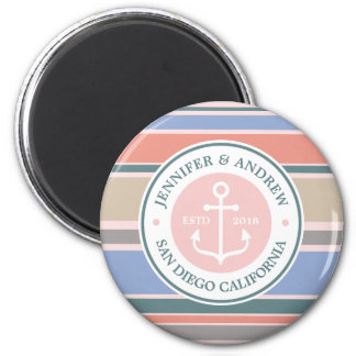 Monogram Anchor Trendy Stripes Pink Nautical Beach Magnet