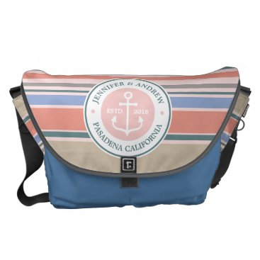 Beach Themed Monogram Anchor Trendy Stripes Pink Nautical Beach Messenger Bag