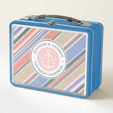 Beach Themed Monogram Anchor Trendy Stripes Pink Nautical Beach Metal Lunch Box