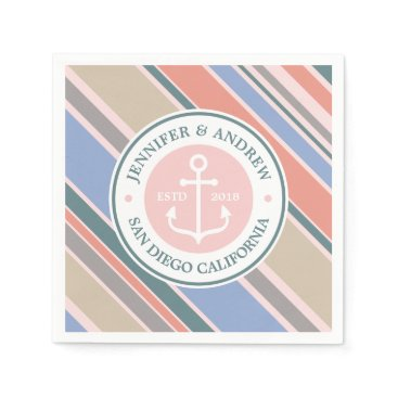 Beach Themed Monogram Anchor Trendy Stripes Pink Nautical Beach Paper Napkin