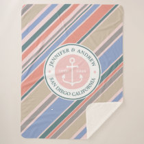 Monogram Anchor Trendy Stripes Pink Nautical Beach Sherpa Blanket
