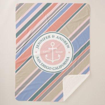 Beach Themed Monogram Anchor Trendy Stripes Pink Nautical Beach Sherpa Blanket