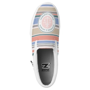 Beach Themed Monogram Anchor Trendy Stripes Pink Nautical Beach Slip-On Sneakers