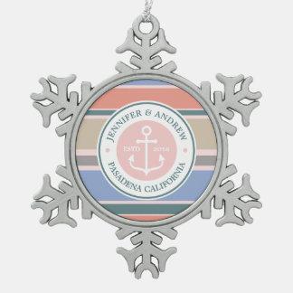 Monogram Anchor Trendy Stripes Pink Nautical Beach Snowflake Pewter Christmas Ornament