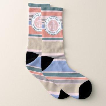 Beach Themed Monogram Anchor Trendy Stripes Pink Nautical Beach Socks