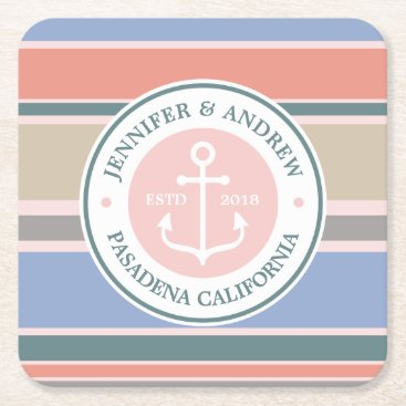 Beach Themed Monogram Anchor Trendy Stripes Pink Nautical Beach Square Paper Coaster