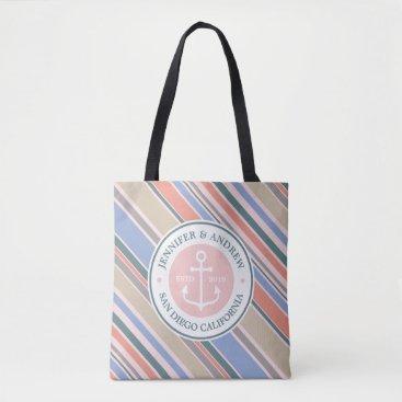 Beach Themed Monogram Anchor Trendy Stripes Pink Nautical Beach Tote Bag