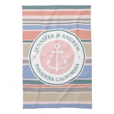 Beach Themed Monogram Anchor Trendy Stripes Pink Nautical Beach Towels