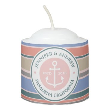 Beach Themed Monogram Anchor Trendy Stripes Pink Nautical Beach Votive Candle