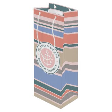Beach Themed Monogram Anchor Trendy Stripes Pink Nautical Beach Wine Gift Bag