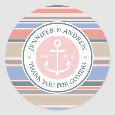 Beach Themed Monogram Anchor Trendy Stripes Pink Thank You Classic Round Sticker