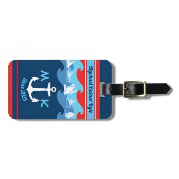 Monogram Anchor Waves Boat Red White Blue Nautical Bag Tag