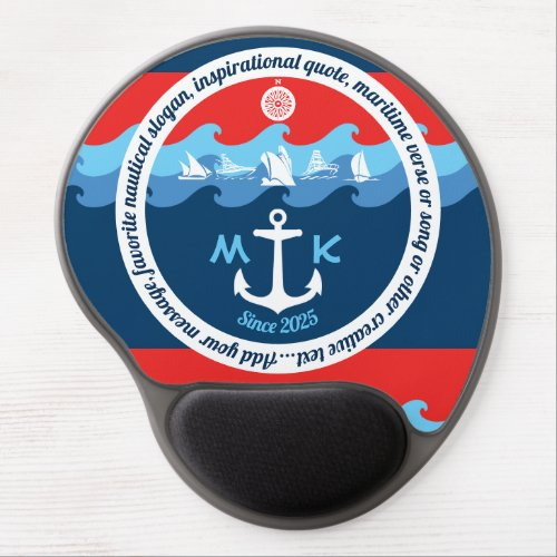 Monogram Anchor Waves Boat Red White Blue Nautical Gel Mouse Pad