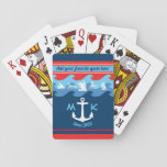 """Monogram Anchor Waves Boat Red White Blue Nautical Playing Cards<br><div class=""""desc"""">Make your own nautical design with this white anchor and monogram with silhouettes of different kinds of watercraft, over a waves background, in classic nautical tones or red, white and blue. Replace the sample monogram and text with your own for a personalized gift. Perfect for all marine-related or summer events,...</div>"""