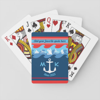 Monogram Anchor Waves Boat Red White Blue Nautical Playing Cards