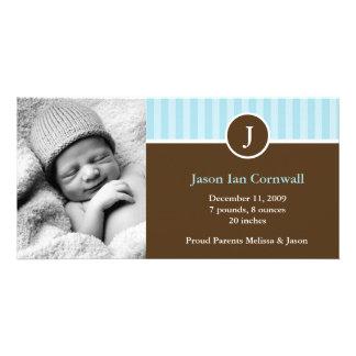 Monogram and Blue Stripes Boy Birth Announcements