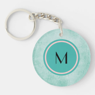 Monogram and Butterfly on mint green color Double-Sided Round Acrylic Keychain