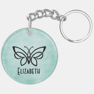 Monogram and Butterfly plus your name on back Double-Sided Round Acrylic Keychain