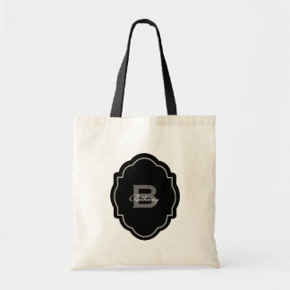 Monogram and Custom Name Black and White V02 Tote Bag
