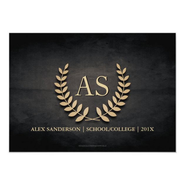Monogram and Gold Laurel Wreath Graduation 5x7 Paper Invitation Card (back side)