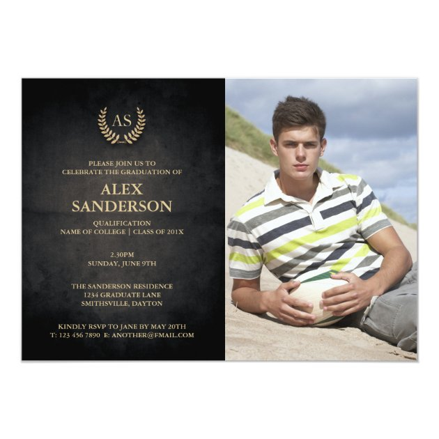 Monogram and Gold Laurel Wreath Graduation 5x7 Paper Invitation Card (front side)