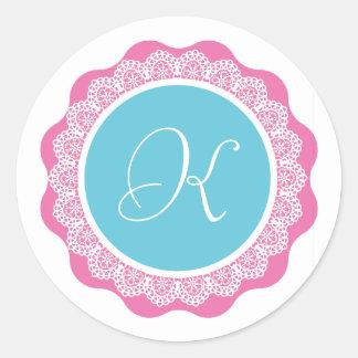 Monogram and Lace Wedding Sticker V13 AQUA PINK