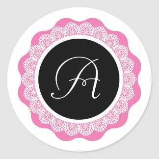 Monogram and Lace Wedding Sticker V8 PINK BLACK