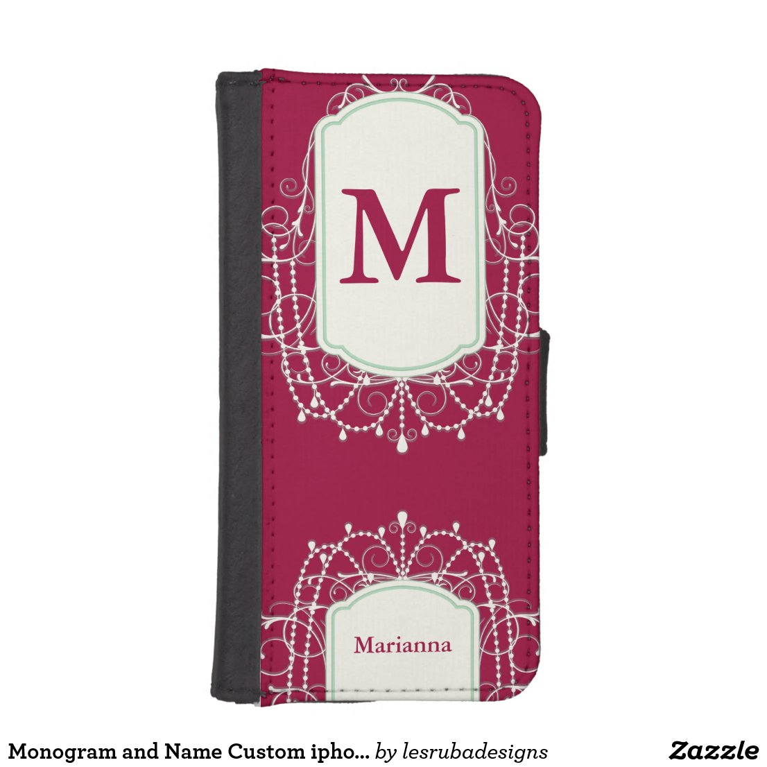 Monogram and Name Custom iphone Wallet