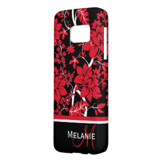 Monogram and name modern floral samsung galaxy s7 case