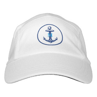 Monogram and Name Navy Blue White Anchor Headsweats Hat