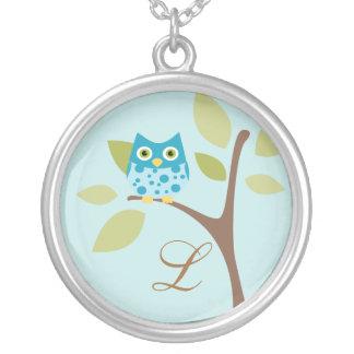 Monogram and Owl, Aqua Round Pendant Necklace