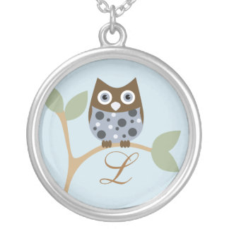Monogram and Owl, Blue Silver Plated Necklace