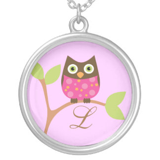 Monogram and Owl, Bright Pink Round Pendant Necklace
