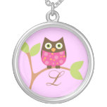 Monogram and Owl, Bright Pink Silver Plated Necklace