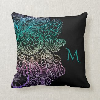 Monogram and Rainbow Lace on Black Or Any Color Throw Pillow