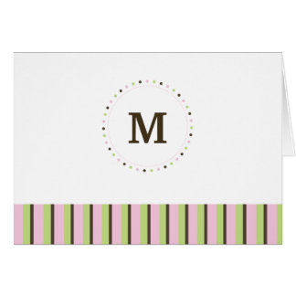 Monogram and Stripes Blank Card-pink