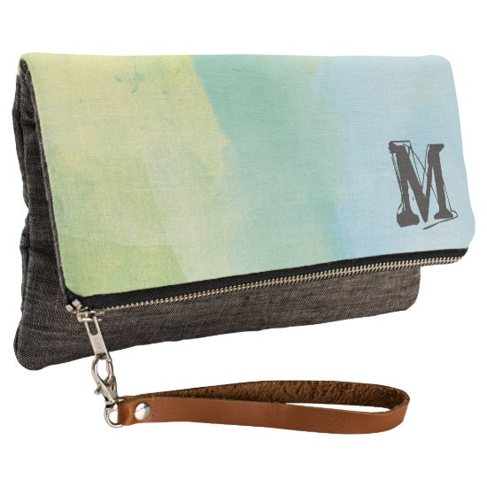 Monogram and Watercolor Clutch