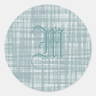 Monogram and Weave Classic Round Sticker