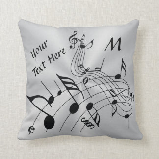 Monogram and Your Text Musical Notes Pillow