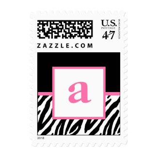 Monogram and Zebra Pattern Custom Postage