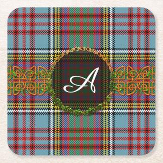 Monogram Anderson Tartan Square Paper Coaster