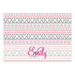 Monogram Andes Pink Teal Pastel Aztec Pattern Business Card Templates