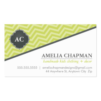 MONOGRAM angled chevron pattern kiwi green grey Double-Sided Standard Business Cards (Pack Of 100)