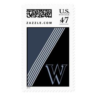 Monogram Angles Midnight Blue Large Postage