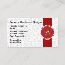 Monogram Animal Pattern Stylish Design Business Card
