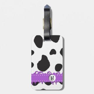 Monogram - Animal Print, Cow Spots - Black Purple Travel Bag Tag